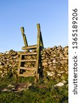 wooden wall ladder over dry... | Shutterstock . vector #1365189206