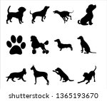Stock vector dogs silhouettes collection 1365193670