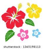 hibiscus and plumeria icon   Shutterstock .eps vector #1365198113