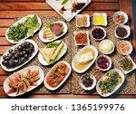 turkish breakfast meal | Shutterstock . vector #1365199976