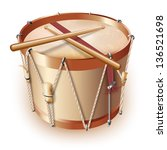Musical background series. Traditional drum, isolated on white background. Vector illustration