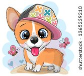 cute cartoon dog corgi in a cap ... | Shutterstock .eps vector #1365239210