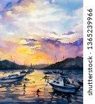 Watercolor Painting   Boats...