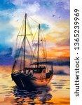 Watercolor Painting   Fishing...