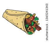 shawarma sandwich gyro fresh... | Shutterstock .eps vector #1365241343