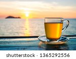 cup of green tea front of at... | Shutterstock . vector #1365292556