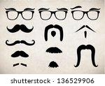mustache set | Shutterstock .eps vector #136529906
