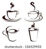 coffee cup shapes | Shutterstock .eps vector #136529933