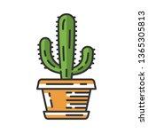 mexican giant cactus in pot...   Shutterstock .eps vector #1365305813