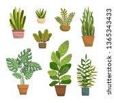 set of vector house indoor... | Shutterstock .eps vector #1365343433
