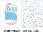 Cute Blue Hand Drawn Dinosaur Vector Illustration. Pastel Blue Polka Dots Vector Pattern. Lovely Infantile Style Dino Poster. Handwritten Hello Dino Text. Lovely Nursery Art Set. Dino Party Set.