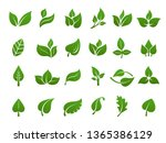 green leaves logo. plant nature ... | Shutterstock .eps vector #1365386129