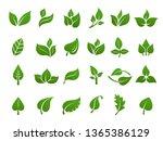 green leaves logo. plant nature ... | Shutterstock .eps vector #1365386129