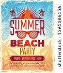 summer retro poster. vacation... | Shutterstock .eps vector #1365386156