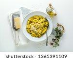 plate of italian ravioli with...   Shutterstock . vector #1365391109