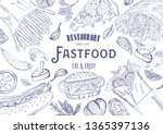 fast food template frame and... | Shutterstock .eps vector #1365397136