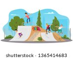 young people ride in the park... | Shutterstock .eps vector #1365414683
