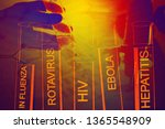 test tubes over blue background | Shutterstock . vector #1365548909