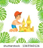 boy sitting and making sand... | Shutterstock .eps vector #1365560126