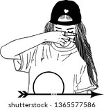 girl with a cap covering her... | Shutterstock .eps vector #1365577586