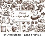 hand drawn pizza and pasta top... | Shutterstock .eps vector #1365578486