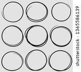 circular scribble doodle round... | Shutterstock .eps vector #1365586139