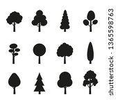 tree icon set. plants with... | Shutterstock .eps vector #1365598763