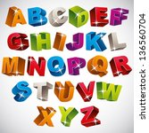 3d font  bold colorful alphabet ... | Shutterstock .eps vector #136560704