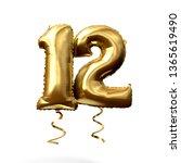 number 12 gold foil helium... | Shutterstock . vector #1365619490