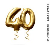 number 40 gold foil helium...   Shutterstock . vector #1365619556