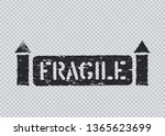grunge fragile cargo stamp with ... | Shutterstock .eps vector #1365623699