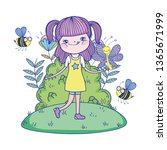 beautiful girl with bees in the ... | Shutterstock .eps vector #1365671999