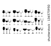 wine glass silhouette collection | Shutterstock .eps vector #136575950