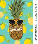 summer hand lettering text with ... | Shutterstock .eps vector #1365762476