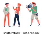 reporter and operator interview ... | Shutterstock .eps vector #1365786539
