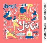 yoga poster in folk... | Shutterstock .eps vector #1365807980