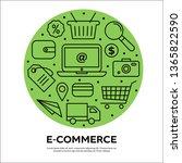 e comerce concept on green... | Shutterstock .eps vector #1365822590