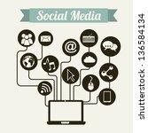 social media vintage over beige ... | Shutterstock .eps vector #136584134