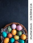 colorful easter eggs in basket... | Shutterstock . vector #1365846116