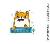 Stock vector typing on keyboard cat vector isolated illustration 1365869150