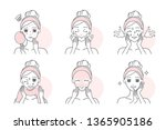 woman apply facial mask to... | Shutterstock .eps vector #1365905186
