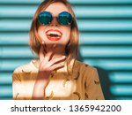 young beautiful woman looking... | Shutterstock . vector #1365942200