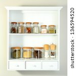 beautiful white shelves with... | Shutterstock . vector #136594520