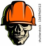 vector skull with the hard hat. | Shutterstock .eps vector #1365960413