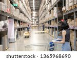 Back side of An asian woman doing shopping  and walking with her cart in cargo or warehouse. Boxes on rows of shelves in warm light warehouse background.  Using for Mock up template for craft display.