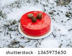 winter mousse cake with red... | Shutterstock . vector #1365975650