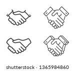 set of handshake vector icons.... | Shutterstock .eps vector #1365984860