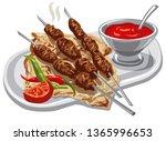 illustration of grilled kebab... | Shutterstock .eps vector #1365996653