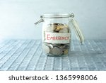 Coins In Glass Money Jar With...