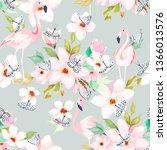 summer seamless pattern. floral ... | Shutterstock .eps vector #1366013576